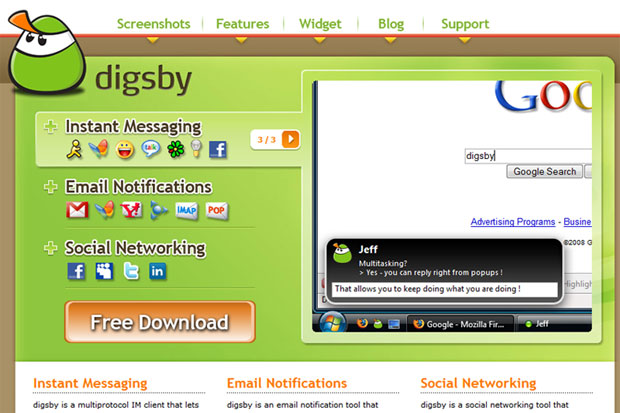 Digsby - IM + eMail + Social Networks