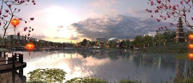 Großflächiger Park mit Gewässer