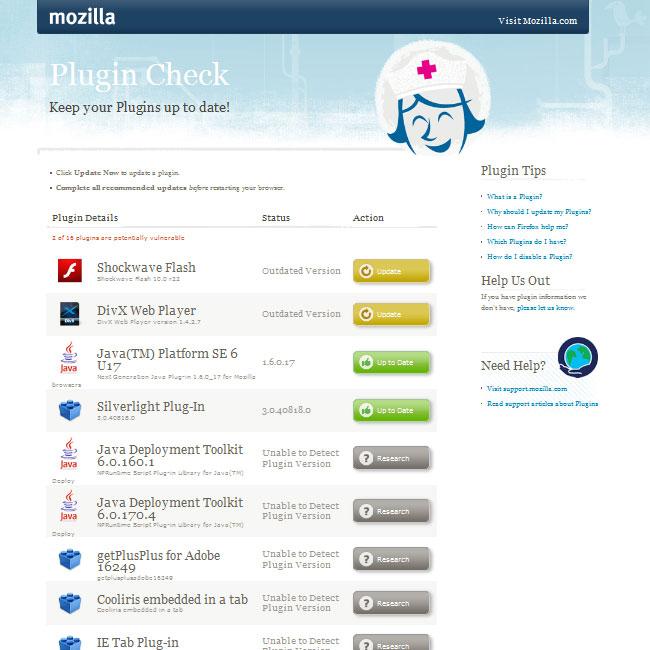 Mozilla Firefox Plugin Check