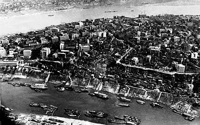Blick auf Downtown Chóngqìng um 1970