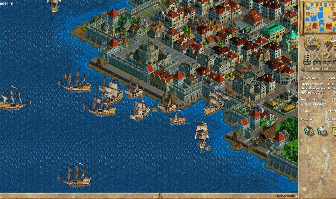 Je größer die Stadt, desto belebter die See: Bei zunehmenden Schiffsverkehr kann es vor Kontoren durchaus passieren, dass sich Schiffe ineinander verhaken und ein unübersichtliches Knäuel aus Planken und Segeln bilden.